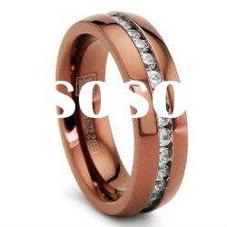 6MM Chocolate Eternity Stainless Steel Ring Wedding Band with CZ Sizes 6 to 8
