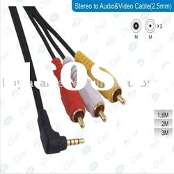 Audio Video AV CABLE 3.5MM TO 3 RCA (Gold Plated/Double Shielded)