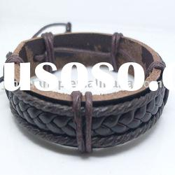 Brown leather cord with brown braided leather bracelet