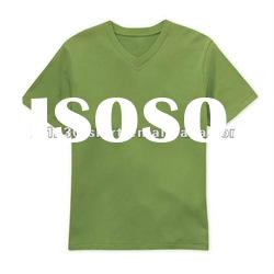Custom Private Label 100% Organic Cotton Plain V Collar T Shirt for Men and Women