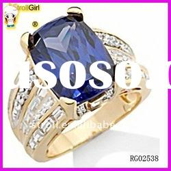 Fashion big blue sapphire diamond gold Rings