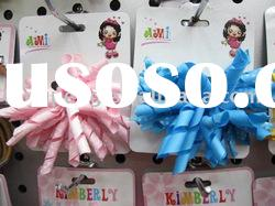 Fashion curly hair bow with clip,kids barrettes,Grosgrain ribbon curly bow-91