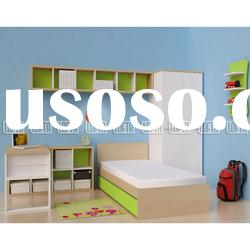 IKEA style Bedroom furniture with wardrobe, desk and bookcase as apartment furniture