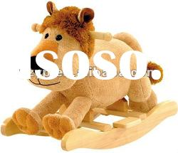 Plush lion baby rocking horse cute baby ride on toys new wooden rocker