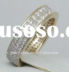 SOLID 14kt Yellow GOLD 1.58ct Princess & Round cut Diamond Wedding Band Ring