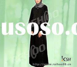 Sequins and beads decoration abaya muslim clothing