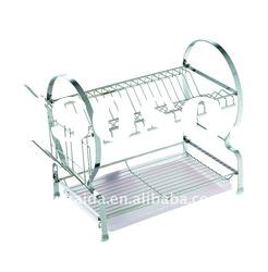 Stainless steel Dish Rack Double layer with stainless steel tray, model No. A011-1