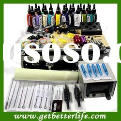 Tattoo Kit Great Inks Pigment 2 Gun Power Needle Skins Tip Supply