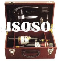 Wooden wine box with accessories