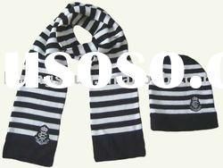 acrylic stripe knit scarf and beanie set with embroidery