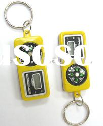 compass with digital clock key chain