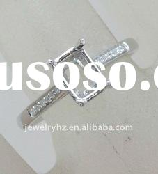 customized design Solid 14ct WHITE GOLD Emerald Cut Natural DIAMOND RING