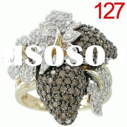 fashion chocolate diamond ring/18k/14k10k yellow/pink/white gold ring