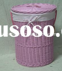 pink round laundry basket with lining and lid