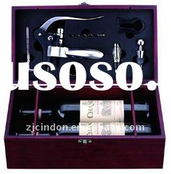 two bottle wooden wine box with accessories