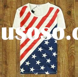 united states usa american national flag print t-shirt 100% cotton short sleeve white t-shirt