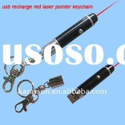 usb recharge laser pointer keychain, flash memory inside