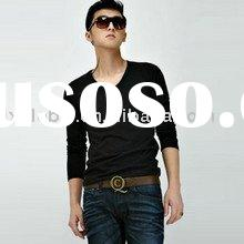 wholesale price long sleeve men's black plain t-shirt