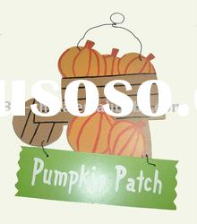 wooden hanging halloween decoration pumpkin patch