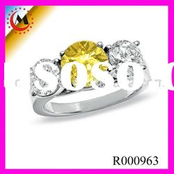 Enhanced Fancy Yellow and White Diamond Three Stone Ring in 14K White