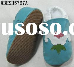 Rubber sole baby leather shoes