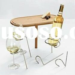 Stick Table with Wine Bottle and Glass Holders