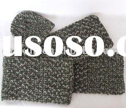 knitted winter acrylic hat, gloves, scarf set