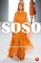 orange evening dresses with long sleeves