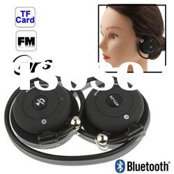 Folding Wireless Bluetooth MP3 Headset with Microphone, Support FM Radio & TF Card Reader
