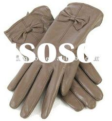 Girl finger PU leather glove, fashion ladies PU gloves