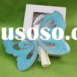 Hot sale butterfly shape greeting card with scroll card in invitation box-T192