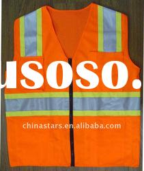 Reflective safety vest with pockets in yellow or orange color, ANSI/ISEA 107-2010 Class 2 certified