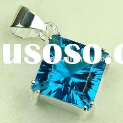 wholesale hot fashion jewelry swiss blue topaz gemstone pendant 925 silver populor jewelry