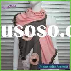 2012 Fashion Cotton Luxury scarf with lace