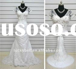 2012 Hot sale Real picture Mermaid Short Sleeve Wedding dress