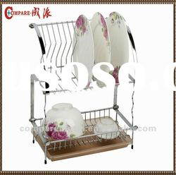 2 layer Adjustable Folding Wire dish rack with tray,cutlery basket and cup holder
