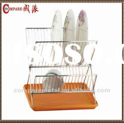 2 layers chrome wire folding dish rack with plastic tray