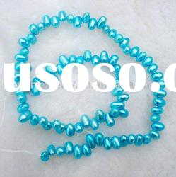 5-6mm freshwater small dyed blue rice pearl strands