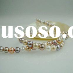 7-7.5mm metallic multicolor off round freshwater pearl strands