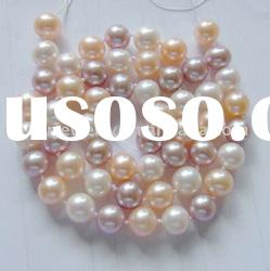 7-8mm multicolor freshwater round real pearl necklace