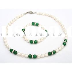 8-9mm oval freshwater pearl set jewelry with jade