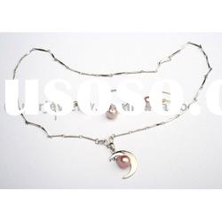 925 silver necklace with pearl jewelry set