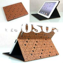 Brown Folio Stand Leather Case for iPad 2