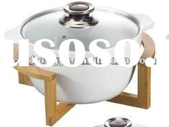 Ceramic Soup Bowl With Bamboo Tray
