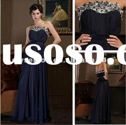 Charming A-line Strapless Navy Taffeta Beadings Long Women's Evening Dress