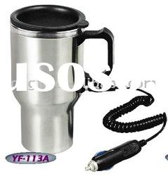 Double wall stainless steel thermal mug with car charger