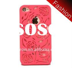 NEW PINK FLOWER RUBBERIZED HARD CASE FOR iPHONE 4S 4 iphone4s