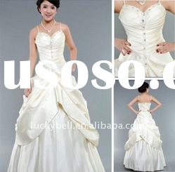 New style Ball Gown Ruffle Spaghetti Strap Wedding dress