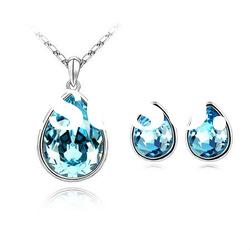 Teardrop Shaped Crystal Necklace and Earring Jewellery Sets/Jewelry Set4317-4318