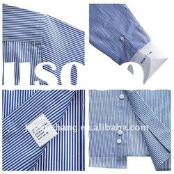 blue and white stripe long sleeve men leisure shirts
